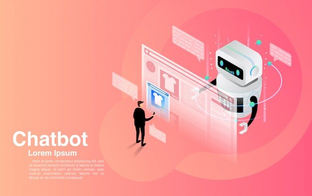 Chatbot, chatting with chatbot application, chatbot technology and online help center.
