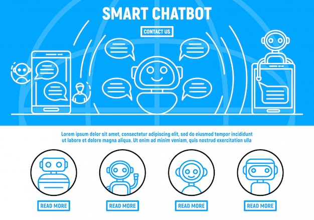 Chatbot concept background, outline style