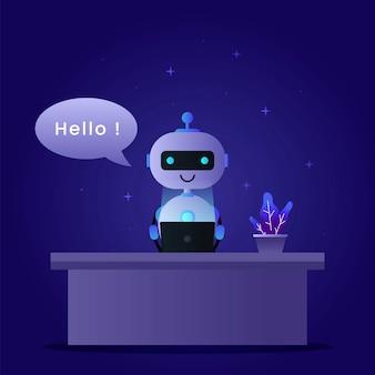 Фон концепции chatbot с роботом, работающим на ноутбуке