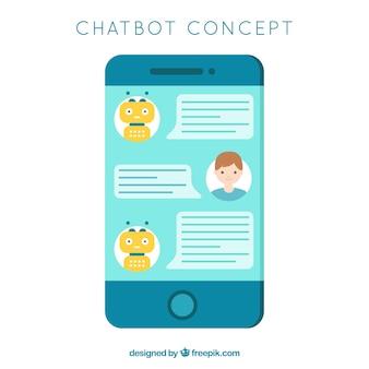 モバイルデバイスとのチャットボットのコンセプト背景