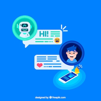 Chatbot concept background with mobile device