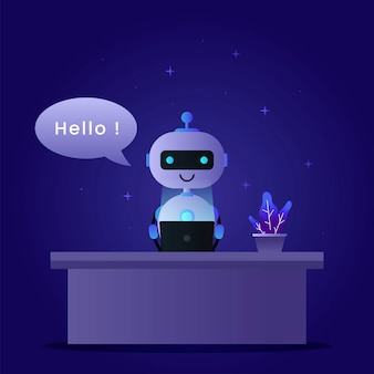 Chatbot concept background with a robot operating a laptop