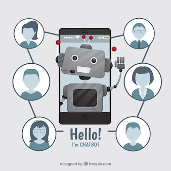 Chatbot concept background with robot and profiles