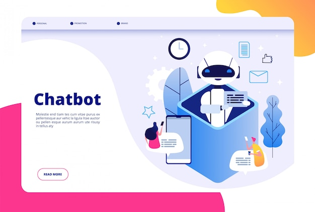 Chatbot concept. chat with android woman man talking with mobile phone to ai application bots help human future technology  page