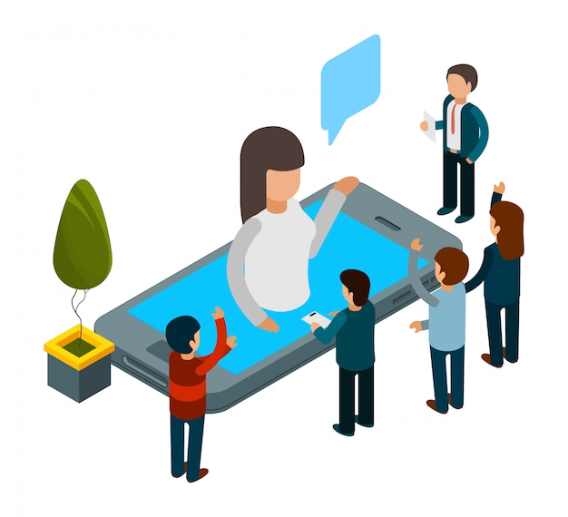 Chatbot concept. isometric artificial intelligence. people chatting with chat bot app