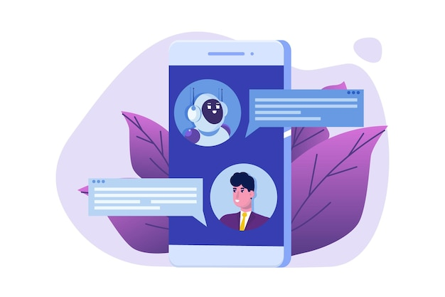 Chatbot concept. man talking to robot. customer support service android,  artificial intelligence dialog .