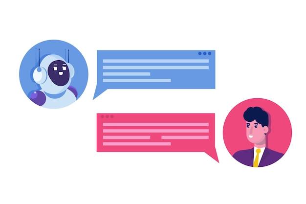 챗봇 개념. 로봇에 얘기하는 남자. 고객 지원 서비스 안드로이드, 인공 지능 대화.