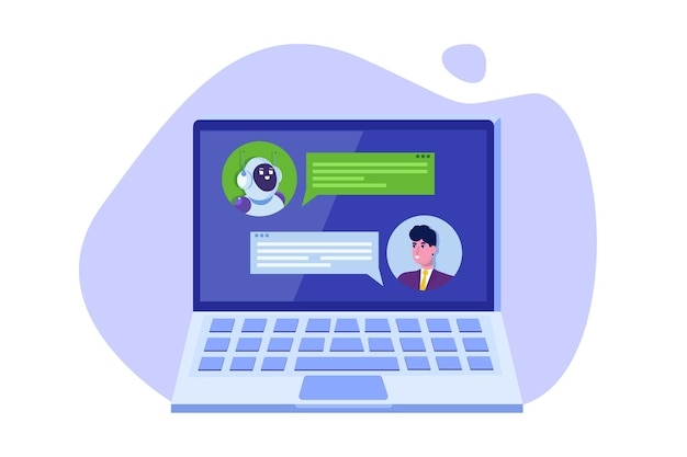 Концепция чат-бота. человек разговаривает с роботом. служба поддержки клиентов android, диалог искусственного интеллекта.