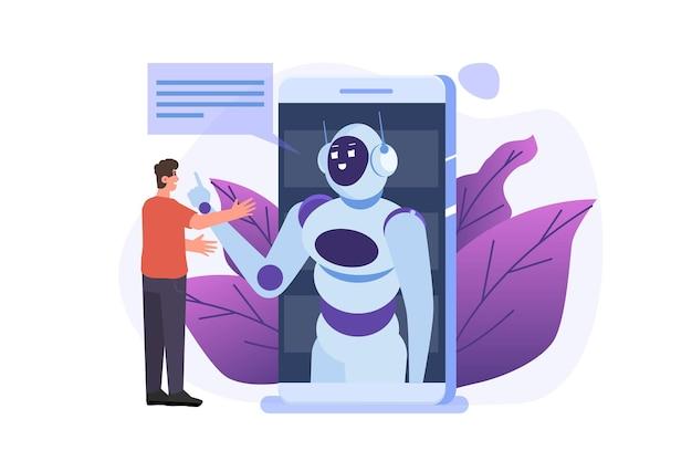 チャットボットの概念。ロボットと話している男。カスタマーサポートサービスアンドロイド、人工知能ダイアログ。
