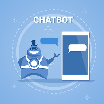 Chatbot concept support robot technology digital chat bot application on smart phone