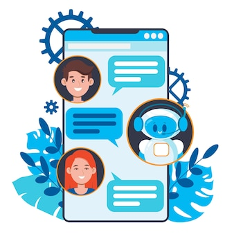 Chatbot concept. users chatting with cute robot chat bot on smartphone.