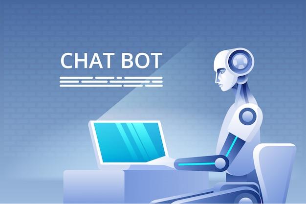 チャットボットのコンセプト。ウェブサイトやモバイルアプリケーション、人工知能の概念の仮想支援。図