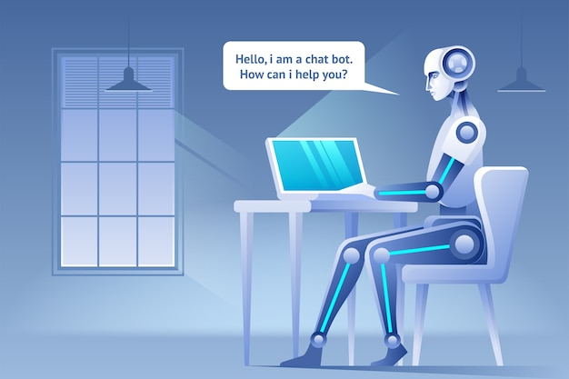 チャットボットの概念ウェブサイトまたはモバイルアプリケーションの仮想支援人工知能の概念