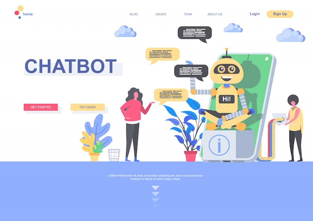 Chatbot flat landing page template. developers programming online chatbot situation. web page with people characters. artificial intelligence, virtual assistant customer support illustration
