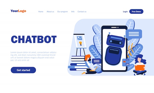 Chatbot flat landing page template with header