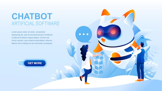 Chatbot flat landing page with header, banner  template.