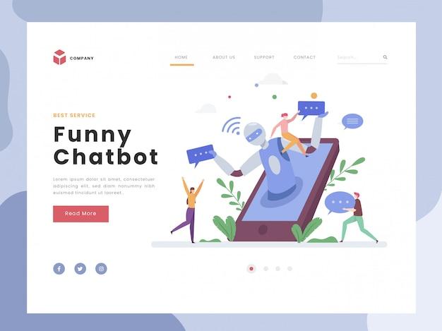 Шаблон целевой страницы, chatbot, flat tiny люди разговаривают с виртуальным цифровым роботом. ai робот-помощник для общения с пользователем. искусственный интеллект. плоский стиль