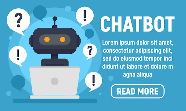 Chatbot help banner, flat style