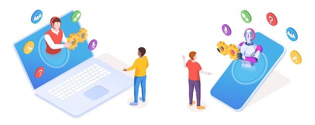 Чат-бот помогает клиенту со смартфона. человек из онлайн-службы поддержки выполняет услуги помощника через ноутбук или ноутбук. подпишитесь на поддержку клиентов или пользователей, помогите, ответьте. технология искусственного интеллекта