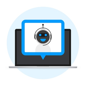 チャットボットアイコンの概念、チャットボットまたはチャットボット。ウェブサイトまたはモバイルアプリケーションのロボット仮想支援