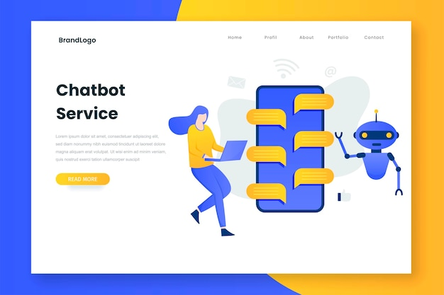 Chatbot illustration landing page