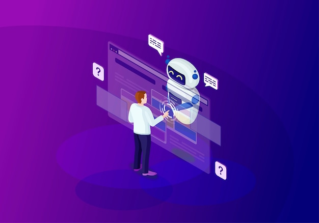 Chatbot изометрии цвет векторная иллюстрация