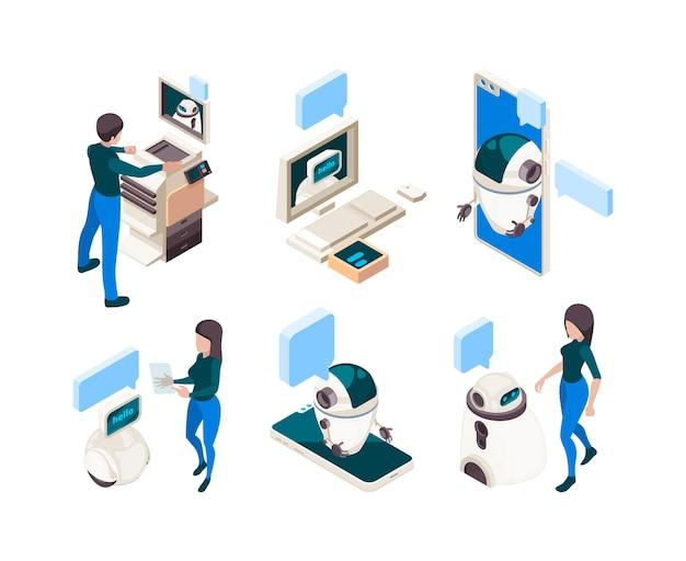 Чат-бот изометрический. люди разговаривают с умной машиной человеческого соединения с концепцией диалога головы мышления компьютера. иллюстрация интеллекта ai, поддержка в чате