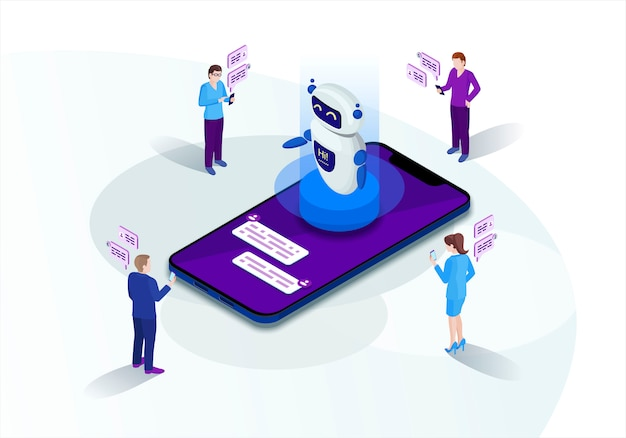 Chatbot isometric vector illustration
