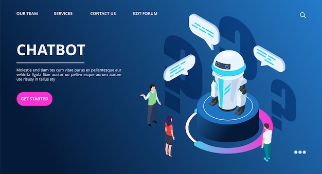 Chatbot landing page. isometric ai robot with people. artificial intelligence vector web banner