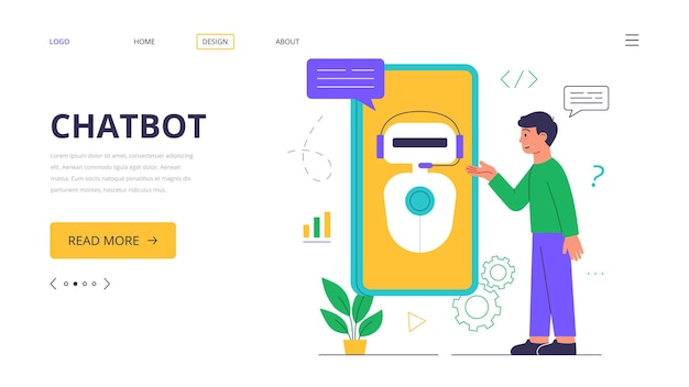 Чат-бот. шаблон целевой страницы. технологии искусственного интеллекта, интеллектуальные автоматизированные технологии. Premium векторы