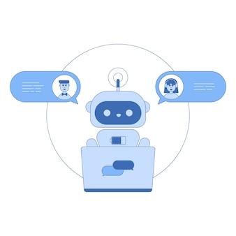 Chatbot線アイコンのトレンディなフラットデザイン