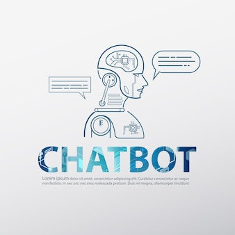Chatbot logo with robotic artificial intelligence
