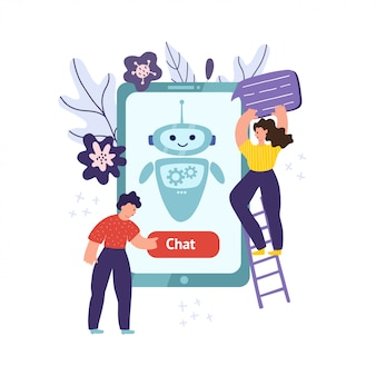 Chatbot mobile concept with man pushing the button and woman holding speech bubble