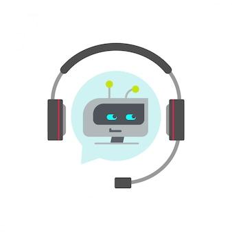 Chatbotまたはbotサポートアシスタントのベクトルのアイコン
