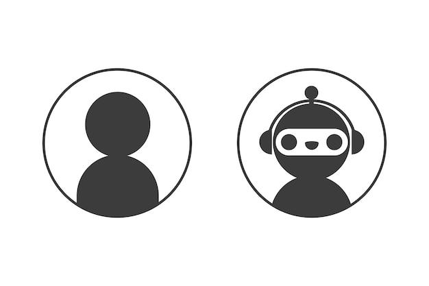 챗봇 로봇과 원 세트의 사용자 아이콘. 디자인 온라인 지원 서비스 대화 창의 요소입니다.
