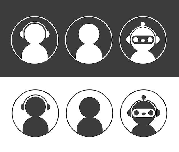 Робот чат-бота и значки пользователей в наборе круга. элементы для оформления диалогового окна службы онлайн-поддержки.