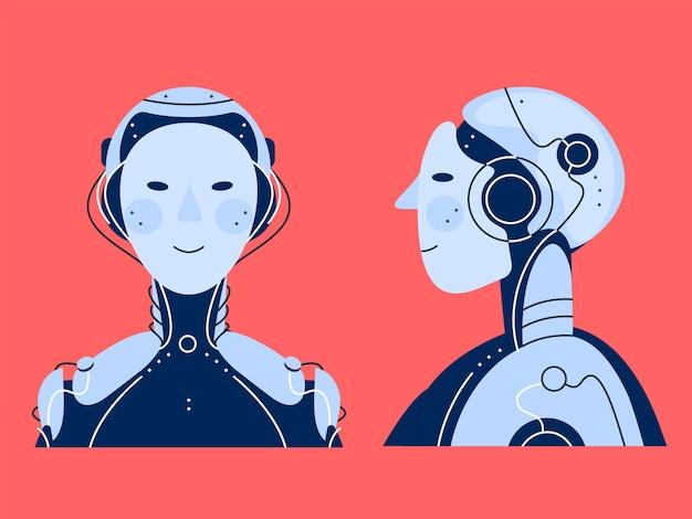 チャットボットロボットのイラスト。顔と側面の位置と分離された詳細なロボットの図