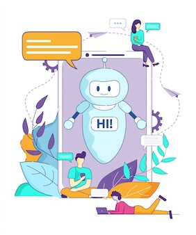 Chatbot says hi artificial intelligence browser.