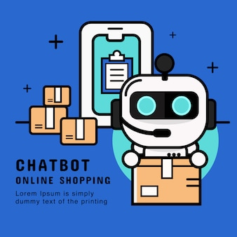 Chatbot service.  customer support robot with delivery service vector. banner illustration