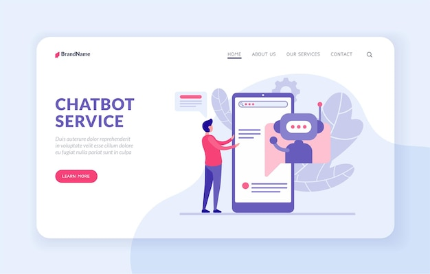 Chatbot service landing page template with flat vector illustration. chatbot assistants to buyer. bot application concept. male character comunicate with artificial intelligence program in smartphone