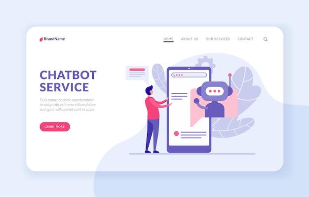평면 벡터 일러스트와 함께 chatbot 서비스 방문 페이지 템플릿입니다. 구매자에게 챗봇 도우미. 봇 응용 프로그램 개념입니다. 스마트폰에서 인공 지능 프로그램과 소통하는 남성 캐릭터