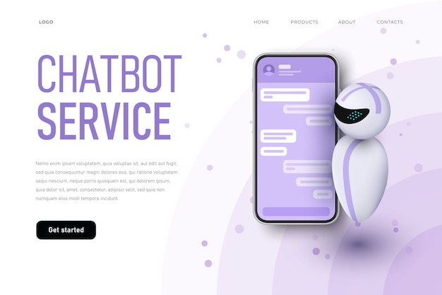 Chatbot service landing page template with levitating robot.