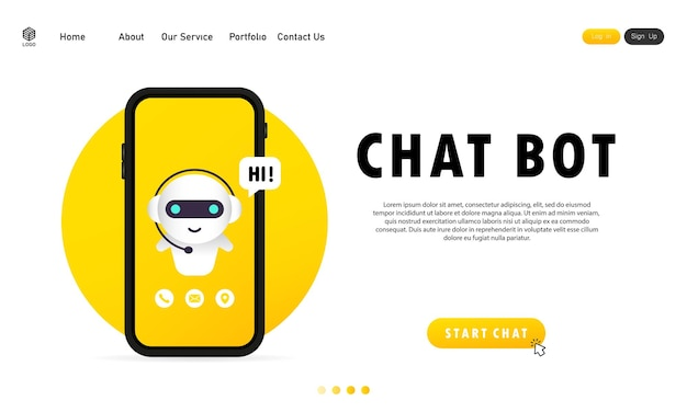 Chatbot in smartphone. online assistant bot landing page template.