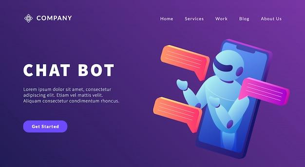 ウェブサイトテンプレートまたはランディングホームページのスマートフォンとロボットのコンセプトとのチャットボットテクノロジーコミュニケーション
