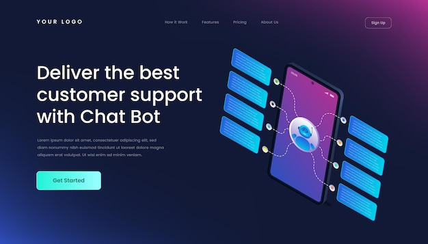 Chatbot technology website template landing page gradient 3d isometric   illustration