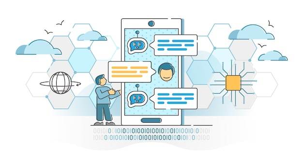 Chatbot virtual conversation with online robot answer service outline concept. artificial intelligence assistant for automated customer support  illustration. ai bot dialog as helpdesk method.