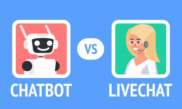 Chatbot vs livechat иллюстрация