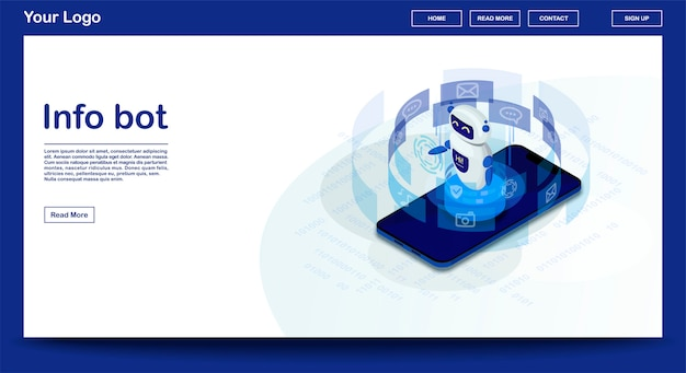 Chatbot webpage vector template with isometric illustration, landing page