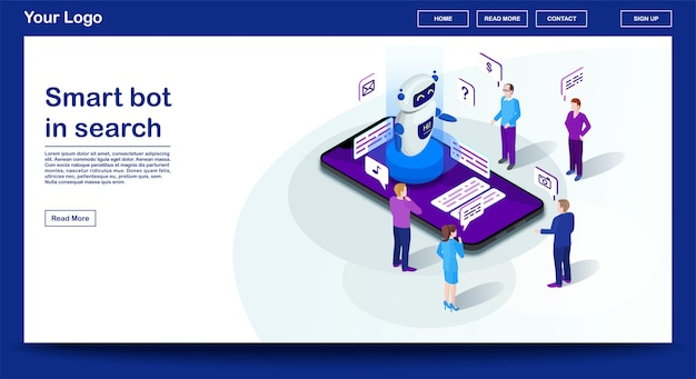 Chatbot webpage vector template with isometric illustration