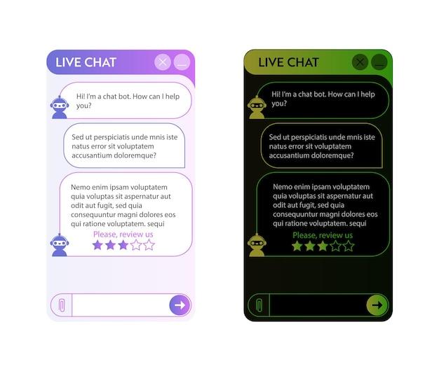 챗봇 창. 어둡고 밝은 모드. 온라인 대화가 있는 응용 프로그램의 사용자 인터페이스. 로봇 어시스턴트와의 대화